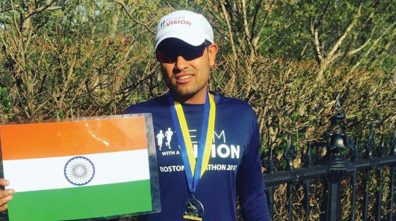 Today he is a long distance runner with a few prestigious marathons to his name, but  Sagar Baheti, 32, has had a long hard run against a progressive disease that is costing him his sight to reach where he has.
