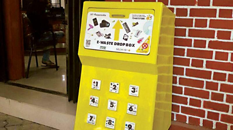 An e-waste bin installed by Ensyde and Saahas for their  'be-responsible' initiative.  (Photo:DC)