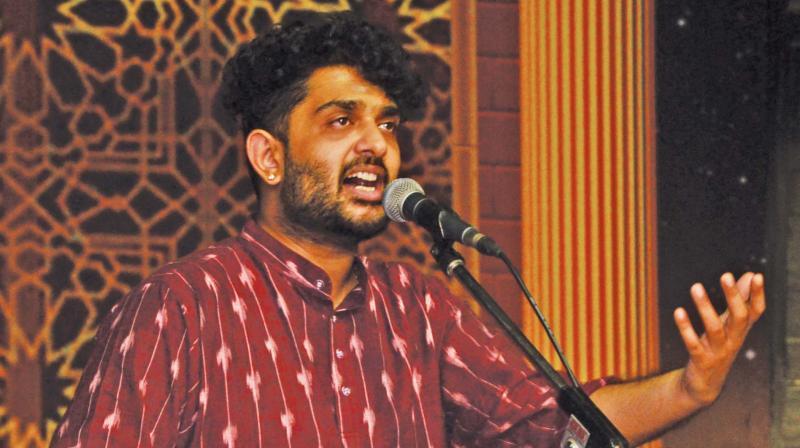 Vocalist Sid Sriram at a concert in Bharat Kalachar's annual music festival—DC
