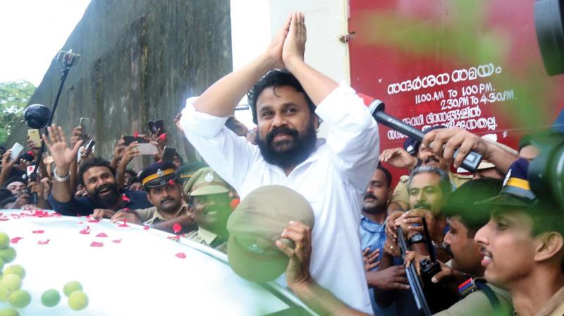 Actor Dileep comes out of the Aluva sub-jail after the Kerala High Court granted him bail in Kochi on Tuesday.	(Photo: SUNOJ NINAN MATHEW)