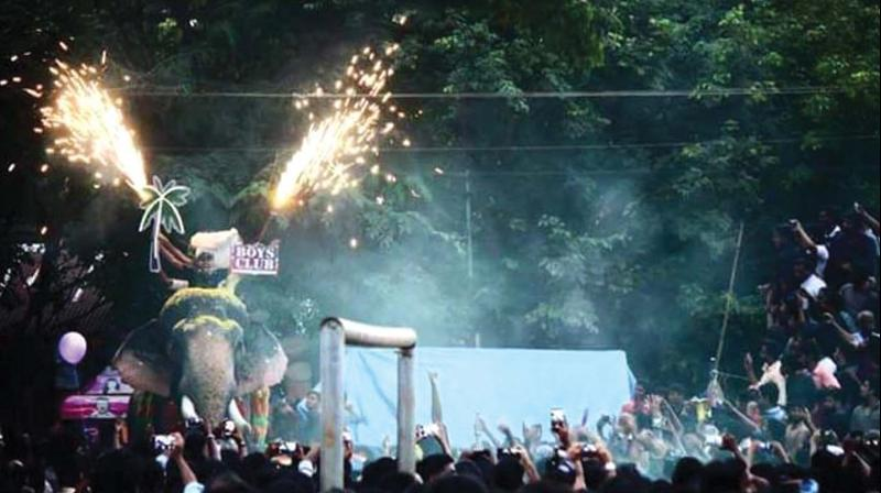 The picture released by Heritage Animal Task Force shows the firework being conducted atop an elephant during the church fest at Pazhanji on Tuesday last. (Photo: DC)