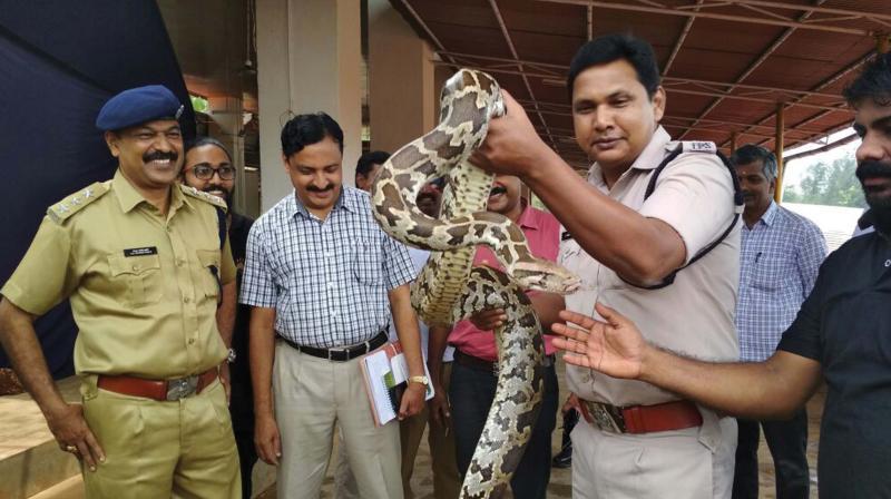KAP IV Commandant K. Sanjay Kumar Gurudin during a snake rescue training at Mangattuparamba (Photo: DC)