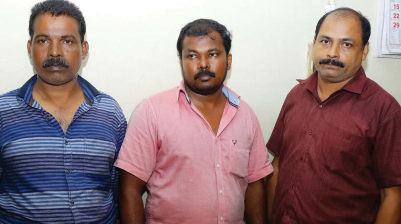 The arrested have been identified as Vinod, Joshy and Mathew.