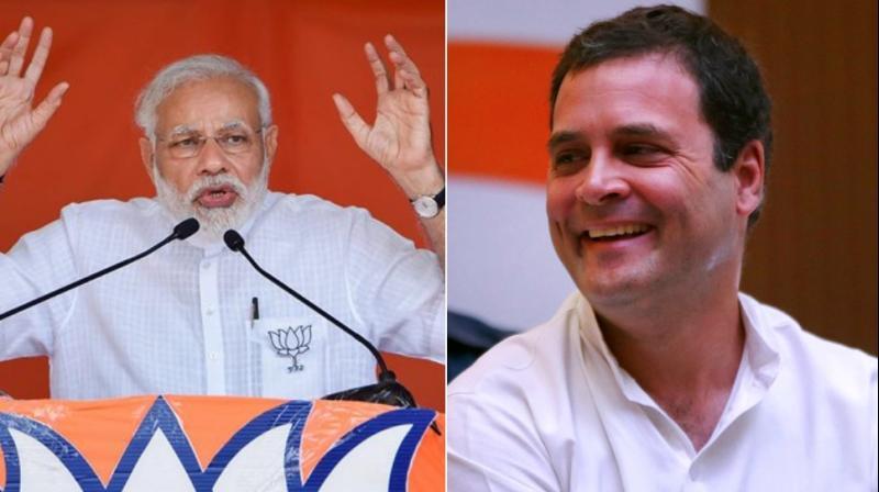 Prime Minister Narendra Modi (L) and Congress President Rahul Gandhi (R) at poll campaign for Karnataka Assembly elections 2018. (Photo: AP/PTI)