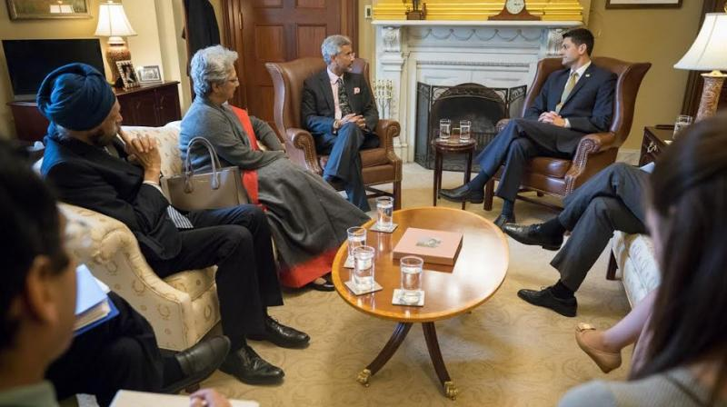 Jaishankar also met Speaker of the House of Representatives Paul Ryan and discussed various issues, including ways to enhance economic and defence cooperation between both countries. (Photo: ANI Twitter)