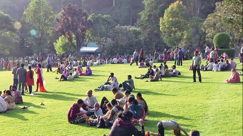 Tourists at the Government Botanical Garden in Ooty during the autumn season this year. (Photo: DC)