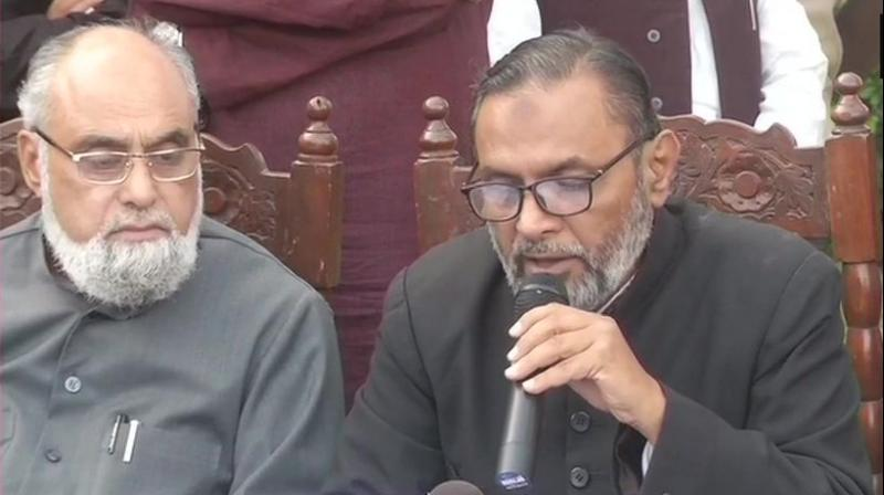 'The land of the mosque belongs to Allah and under Sharia law, it cannot be given to anybody,' AIMPLB secretary Zafaryab Jilani told reporters after a meeting of the board here. (Photo: ANI)