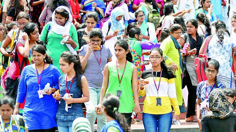 A large number of students attend the awareness campaign aganist Ragging and Harassment at Ravindrabharathi on Monday. (Photo: DC)