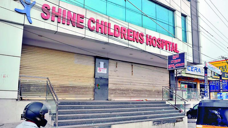 GHMC disaster management issued notice to Shine Hospitals in L. B. Nagar to submit documents. (Photo: P. Surendra)