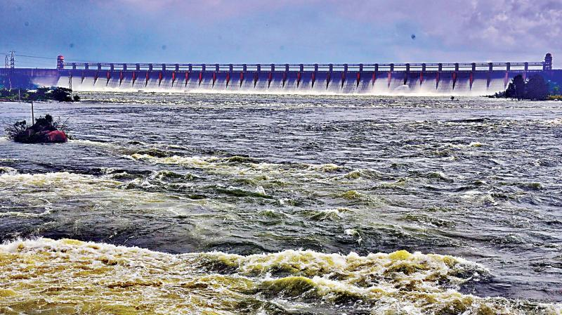 All 33 gates of TB Dam at Hospete in Ballari district were opened on Tuesday to release water. (Photo: KPN)