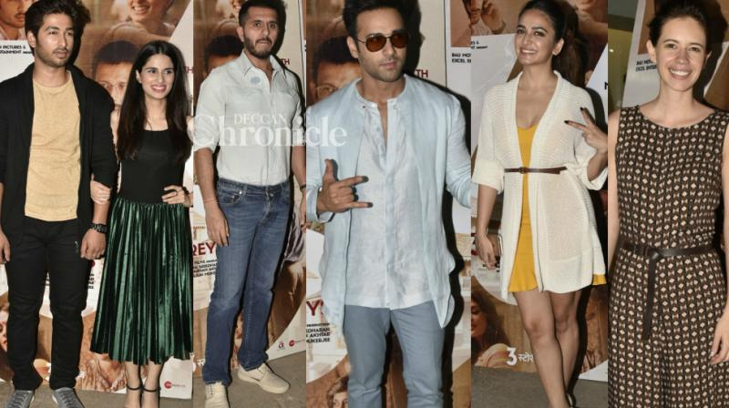 The cast of '3 Storeys' held a screening of the film in Mumbai, which was attended by several Bollywood stars. (Photo: Viral Bhayani)