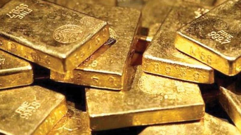 Globally, gold traded lower at USD 1,283.20 an ounce and silver fell 0.26 per cent at USD 15.67 an ounce in New York.