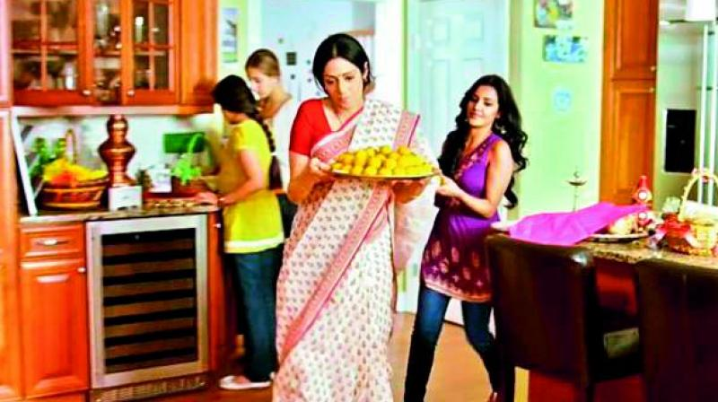 A still from the movie English Vinglish where Sridevi's character did all the household work but didn't get enough respect from her  family.