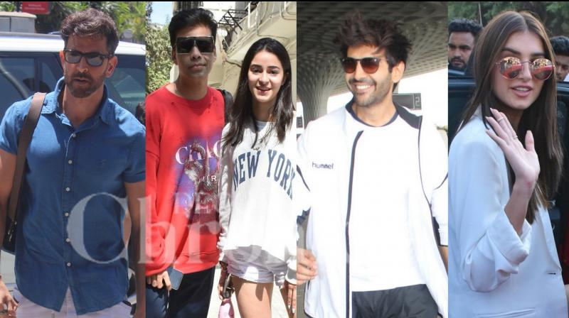Bollywood celebrities like Hrithik Roshan, Kartik Aaryan, Ananya Panday, Tara Sutaria, Karan Johar, Shilpa Shetty Kundra and others were snapped in the city of dreams, Mumbai. (Photos: Viral Bhayani)