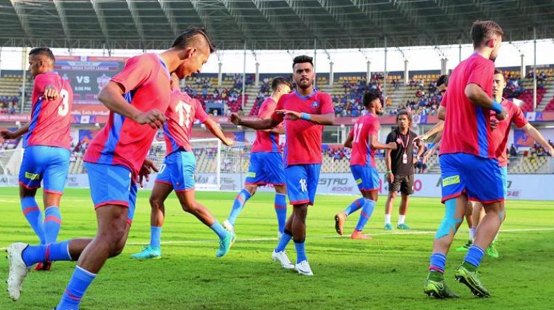 FC Goa players at a training session in Margao on Wednesday.