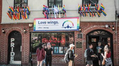 Pride flags and pride colours on display at the Stonewall Inn bar, marking the site of 1969 riots that followed a police raid of the bar's gay patrons, in New York. (Photo: AP/Bebeto Matthews)
