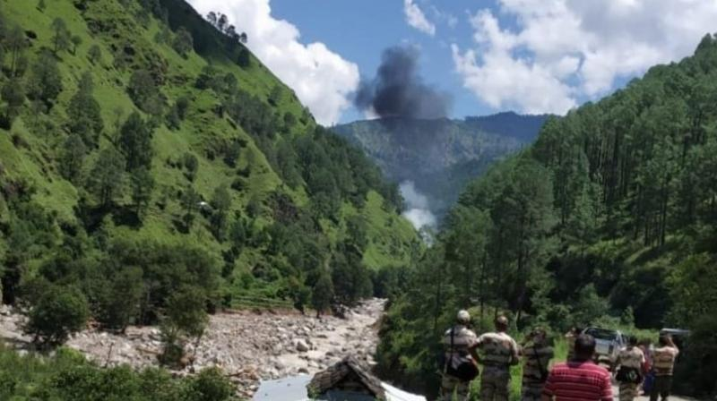 There were reportedly three people on board at the time of the crash. (Photo: ANI   Twitter)