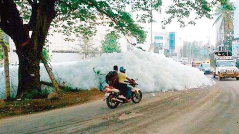 File photo of froth coming out of Varthur lake