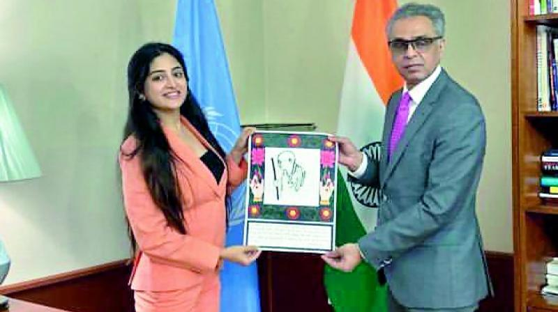 Puunam Khaur with Syed Akbaruddin of India's Permanent Representative at the UN