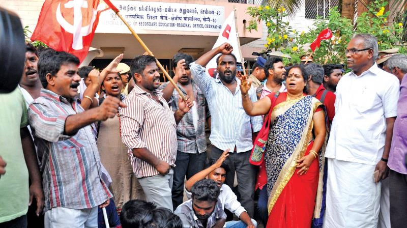 CPI (M) state secretary K.Balakrishnan and party members protest before CBSE regional office in Anna Nagar, condemning the allocation of exam centres to NEET applicants in other states, on Friday.	 (Photo:DC)