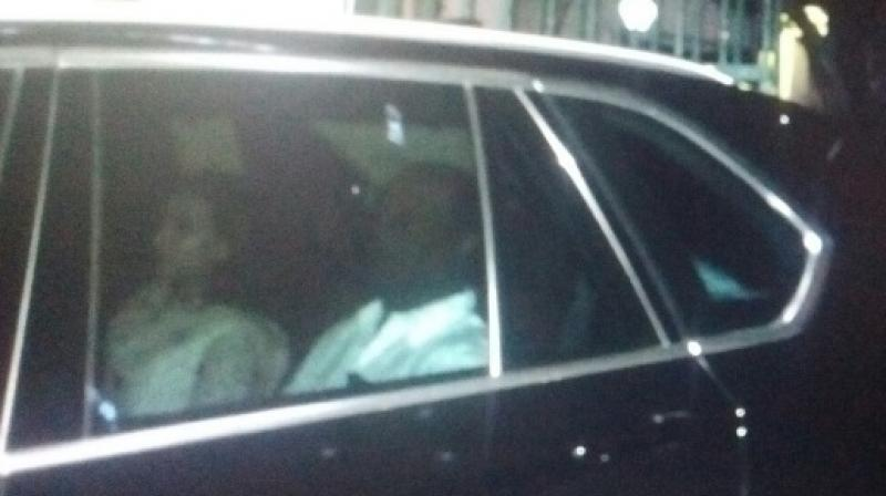 Rajinikanth and Aishwarya were at the hospital for about 20-25 minutes, hospital sources said, adding, they enquired about her health.(Photo: Twitter)