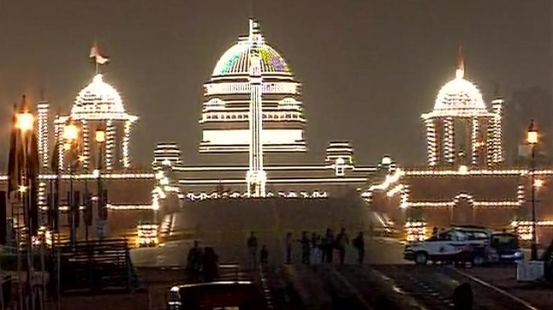 Rashtrapati Bhavan lit up on Thursday on the occasion of Republic Day. (Photo: ANI Twitter)