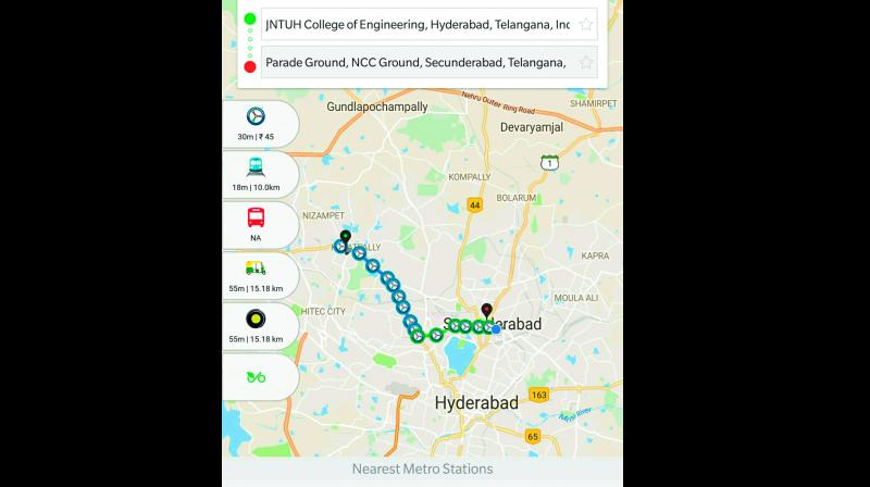 Commuters can get the real-time updates on the T-Savari app. They can get not just timings of Metro but also those of MMTS and APSRTC buses on the app. (A screenshot of the T-Savari app)