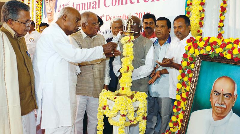 Former Prime Minister H.D. Deve Gowda inaugurates the 42nd annual conference of Kamaraj Foundation of India in Bengaluru on Saturday 	– DC