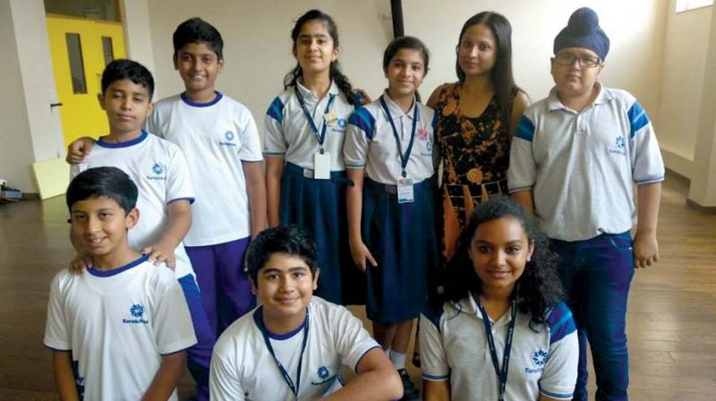 Students from Euro School during their practise session