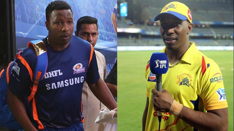 """""""(Kieron) Pollard is the first player to play 400 T20 games. So he has 400 on his back. And I'm the first bowler to get 400 wickets,"""" said Dwayne Bravo about why he and Pollard 400 number jerseys. (Photo: BCCI)"""