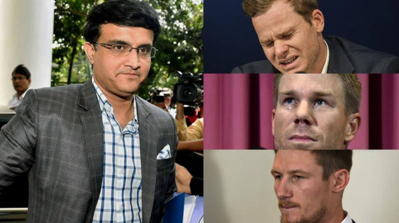 """I just wish them (Steve Smith, David Warner and Cameron Bancroft) luck and hopefully they come back and play well. It's not right to call it cheating, and I wish them luck, and come back and (play) well,"" said Sourav Ganguly. (Photo: PTI / AFP / AP)"