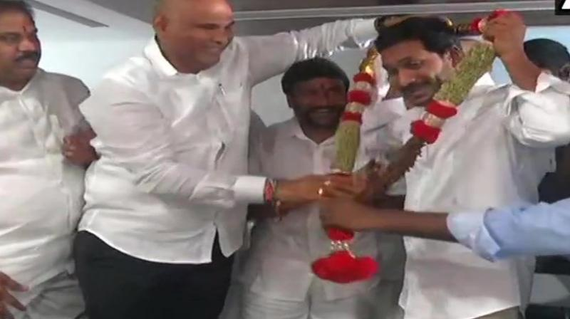 He was felicitated by party members at the legislative party meeting in Amaravati. (Photo: ANI | Twitter)