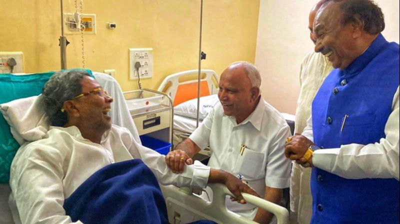 K'taka CM Yediyurappa visits Congress's Siddaramaiah at Bengaluru hospital