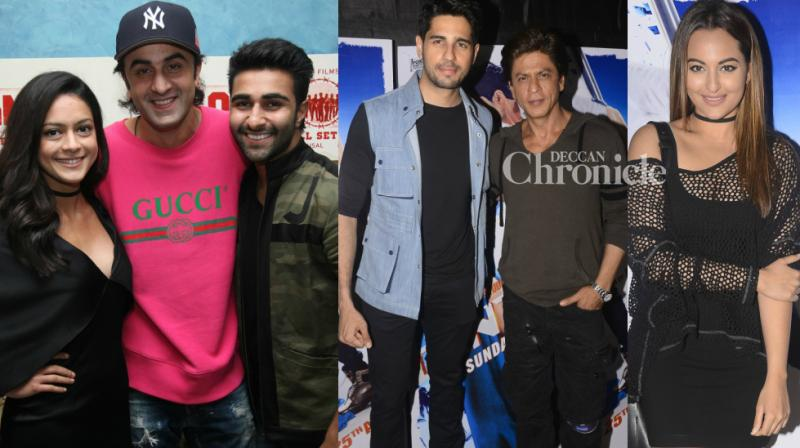 Teams of this Friday's releases 'A Gentleman' and 'Qaidi Band' held screenings for Bollywood stars in Mumbai late Friday, which was attended by Shah Rukh Khan and many others. (Photo: Viral Bhayani)