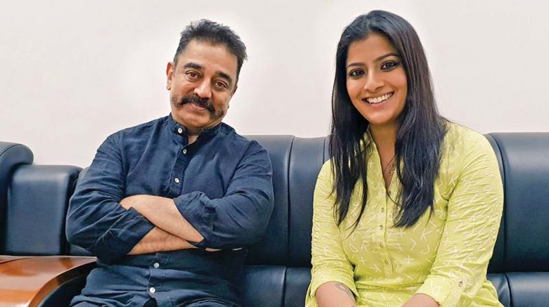 Actress Varalaxmi Sarathkumar with Kamal Haasan