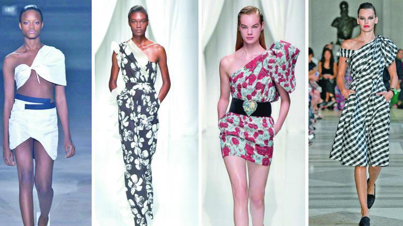 One-shoulder creations from Carolina Herrera, Emanuel Ungaro, Carolina Herrera and Jacquemus