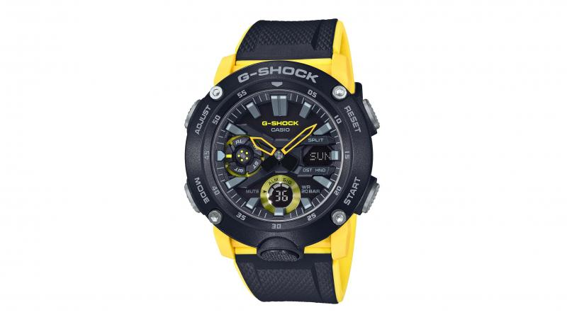 The recent G-Shock GA 2000 series comes encased in tough carbon fibre reinforced resin and is waterproof to a depth of 200 metres.