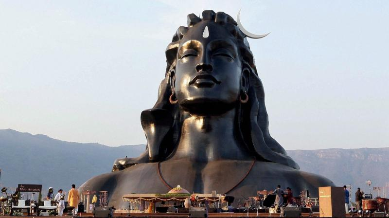 The 112-feet iconic statue of Adiyogi Lord Shiva that was unveiled by Prime Minister Narendra Modi at Isha Foundation in Coimbatore. (Photo: PTI)