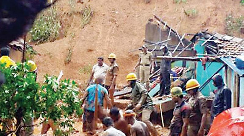 The house which was damaged in a landslide at Tandrakuli on NH 66 near Kumta on Sunday. (Photo: KPN)