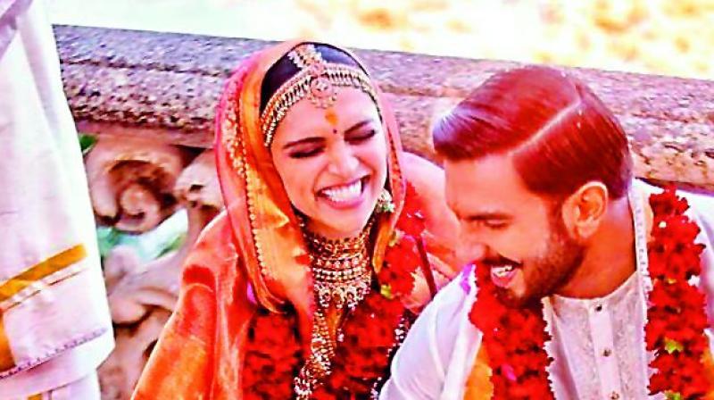 Deepika Padukone and Ranveer Singh during their wedding