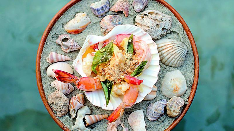 Curry Leaf Poached Prawns with Crushed Peanuts