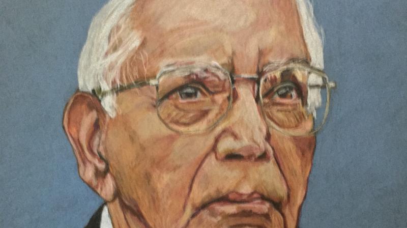A portrait of Prof C R Rao.