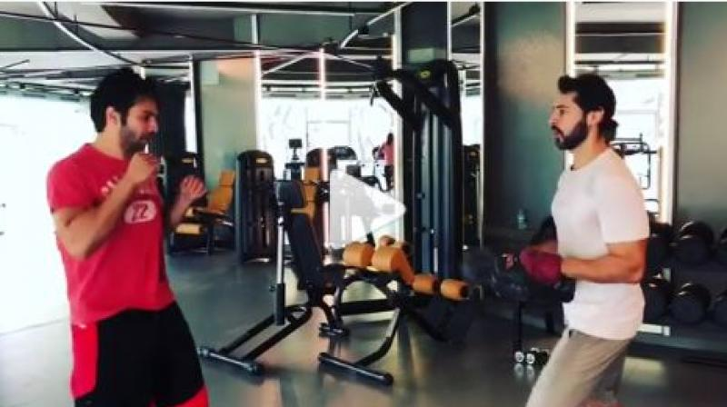 Screenshot from Varun Dhawan and Dino Morea's boxing practice (Courtesy: Instagram)