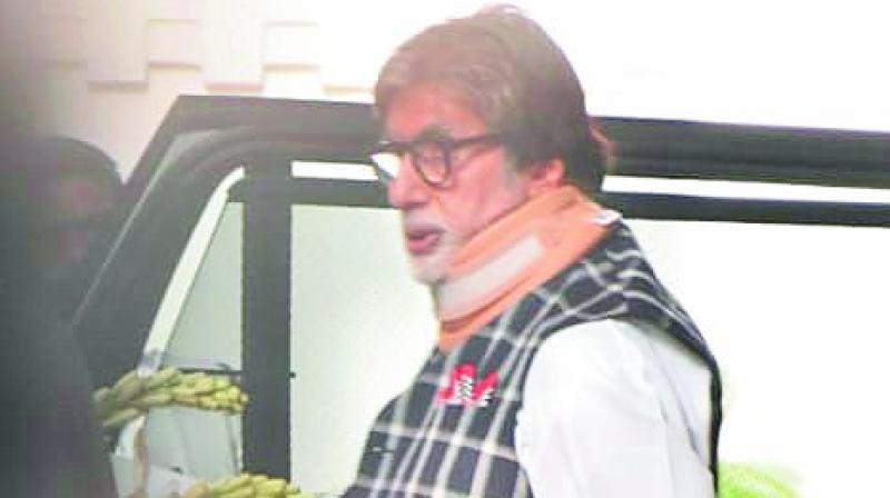 The pictures making rounds show Big B strapped with a cervical neckband.