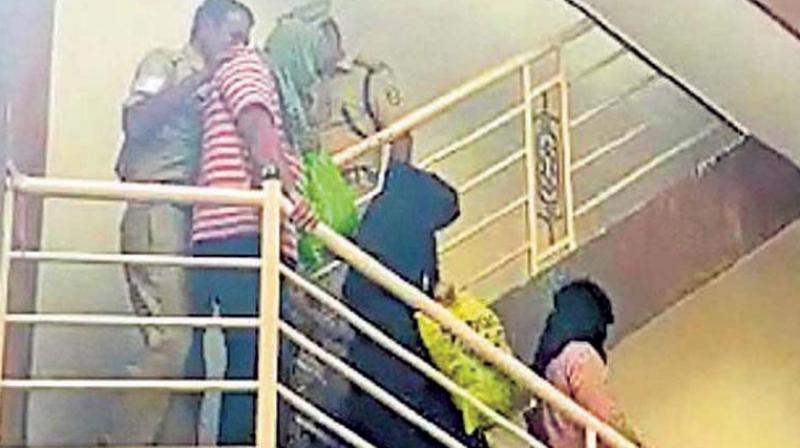 The three Pakistani nationals being arrested from their house in Kumaraswamy Layout.