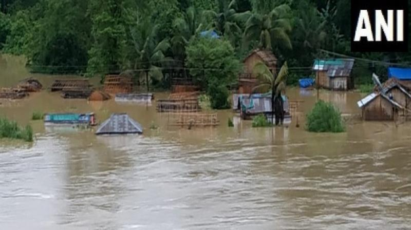 Due to incessant rainfall, schools in the vicinity have been shut for next days. Commuters have been asked to stay cautious while travelling to their workplace as some of the roads were damaged due to heavy downpour. (Photo: ANI)