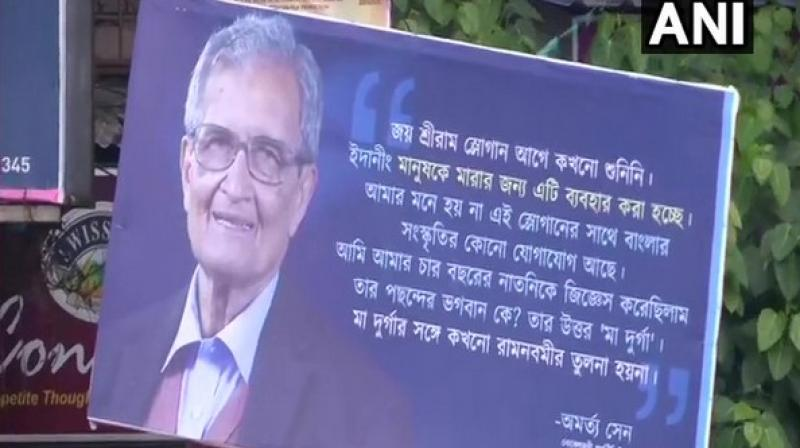 Sen's comments were displayed in Bengali on the hoardings with a deep blue background and his photo on the left. (Photo: ANI)