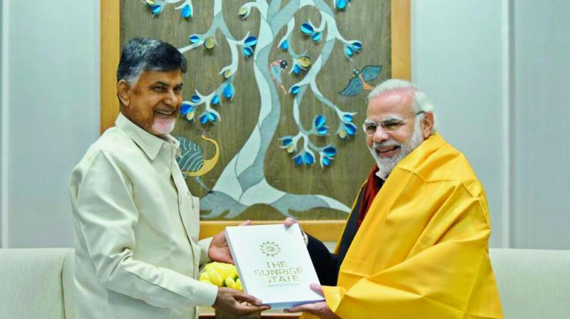 AP Chief Minister N. Chandrababu and Prime Minister Narendra Modi are all smiles during their meeting in New Delhi.