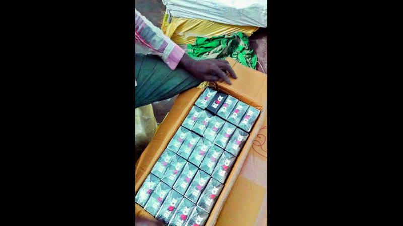 Foreign cigarettes 'DJARUM Black' that were smuggled into Vijayawada. (Photo: DC)