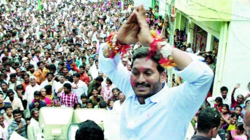 Y.S. Jagan Mohan Reddy continues his 60th day of Praja Sankalpa Yatra at Ramachandrapuram mandal under Chandragiri constituency in Chittoor district on Friday.